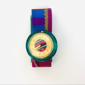 Vintage 90's Swatch Pop Cloth Band Big Face Watch